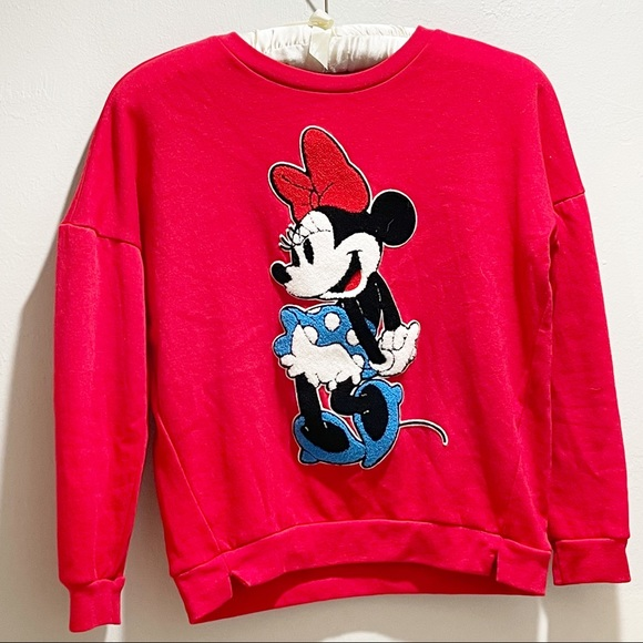 DISNEY Red Minnie Mouse Sweatshirt Embroidered